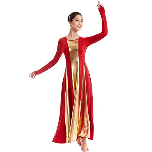 Women Adult Metallic Long Sleeve Liturgical Praise Dance Dress Gold Color Block Loose Fit Robe Full Length Maxi Swing Gown Ruffle Tunic Circle Skirt Christian Worship Costume Praisewear Red L