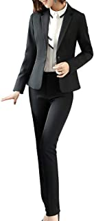LISUEYNE Women Blazers Suits Two Pieces Solid Work Office Lady Business Suit Formal Blazer Jacket Suits Outwear Coat