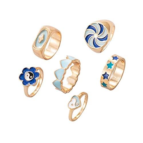 Juego de 6 anillos de Star Love Heart Yin Yang, minimalistas, finos, apilables, plateados, anillos abiertos, de metal, para los dedos, joyas modernas, regalo para mujeres y niñas