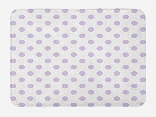 Lunarable Lavender Bath Mat, Old Fashioned Retro Design with Polka Dots Classical Spotted Tile Pattern, Plush Bathroom Decor Mat with Non Slip Backing, 29.5' X 17.5', Lavender White