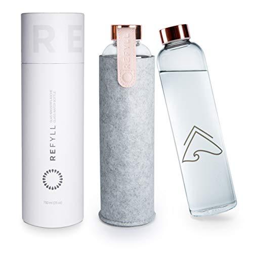"""REFYLL Glasflasche mit Filzhülle """"pureFyll"""" 750ml I Trinkflasche aus Glas mit Schutzhülle 0,75L I Designer Wasserflasche aus Borosilikatglas mit Cover (Rosegold)"""
