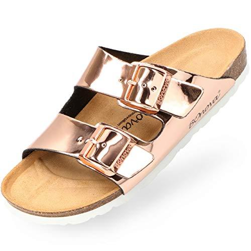 BOnova Damen Pantolette Schwanberg in 9 Farben, sommerliche Sandalen in auffälligen Farben und mit Beschlägen, Bequeme Hausschuhe mit Kork-Sohle Rosegold Mirror 38