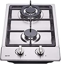 Deli-kit 12 inch Gas Cooktop Dual Fuel Sealed 2 Burners Stainless Steel Gas Cooktop Drop-In Gas Hob Gas DK223-A01 Cooker Gas Cooker