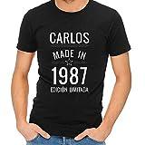 Regalo Personalizado para Hombres: Camiseta 'Made in' Personalizada con su Nombre y año de Nacimiento (Negro)