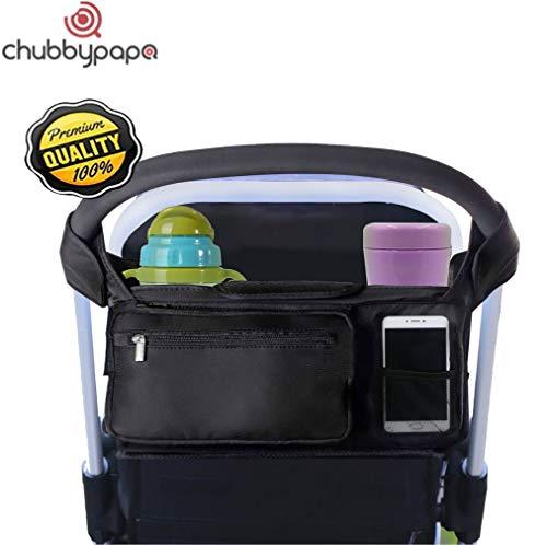 * * Organizer voor de kinderwagen, met 2 geïsoleerde flessenhouders en veel vakken voor luiers, glazen, portemonnee, mobiele telefoon enz.