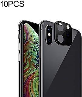10 PCS Copy iP 11 Pro/iP 11 Pro Max Metal + Plexiglass Lens Protective Cover for iPhone X/XS/XS Max New (Black) Hengk (Color : Black)