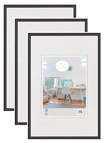 walther design KV040B3 New Lifestyle, Cadres en plastique, 30x40 cm, noir, lot de 3
