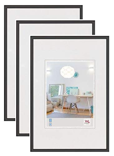 walther design New Lifestyle Bilderrahmen, Wanddekoration, Kunststoff, 3er pack, 1 (13 x 18 cm), schwarz