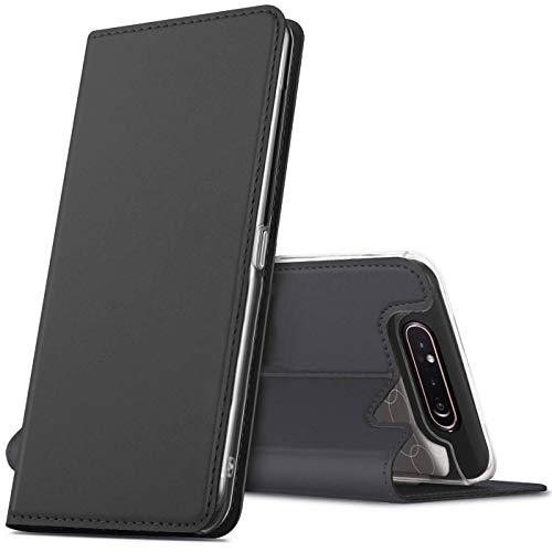Verco Handyhülle für Samsung A80, Premium Handy Flip Cover für Samsung Galaxy A80 Hülle [integr. Magnet] Book Hülle PU Leder Tasche, Schwarz