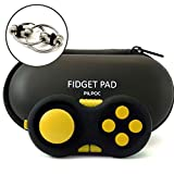 PILPOC Fidget Controller Pad Cube - Premium Quality Fidget Game Focus Toy, Smooth ABS Plastic with Exclusive Protective Case, Stress Relief Toy, for Add/ADHD (Black & Yellow)