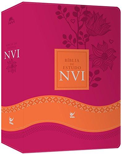 Bíblia de Estudo NVI - Capa Rosa e Laranja