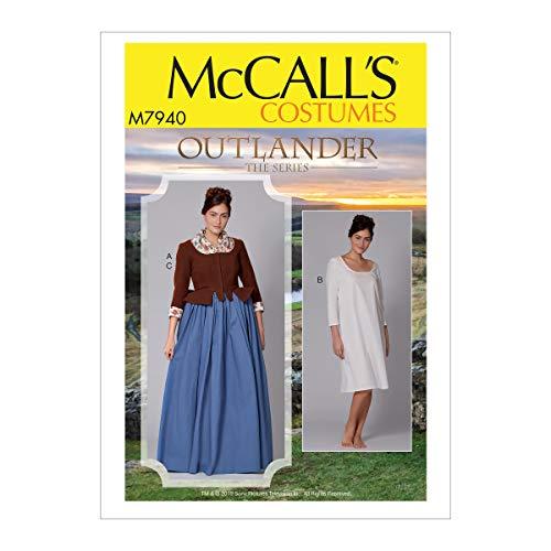 McCall's Patterns McCall's M7940E5 Outlander the Series Women's Dress and Chemise Cosplay Costume Sewing Pattern, Sizes 14-22 Schnittmuster, Papier, weiß, Verschiedene Größen