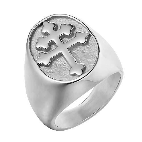 BOBIJOO Jewelry - Bague Chevalière Homme Croix de Lorraine Patriarcale Acier Inoxydable Argenté - 60 (9 US), Acier Inoxydable 316