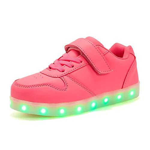 Unisex chłopięce dziewczęce klasyczne Low-Top LED światła 7 kolorów ładowarka USB LED trampki trampki świecące buty do biegania, - Różowy 518 - 20 EU