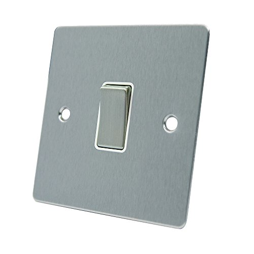 AET FSC1GSWIWS Satin Chrome Flat White Insert Metal Rocker Switch-10 Amp Single 1-Gang 2 Way Light Switch