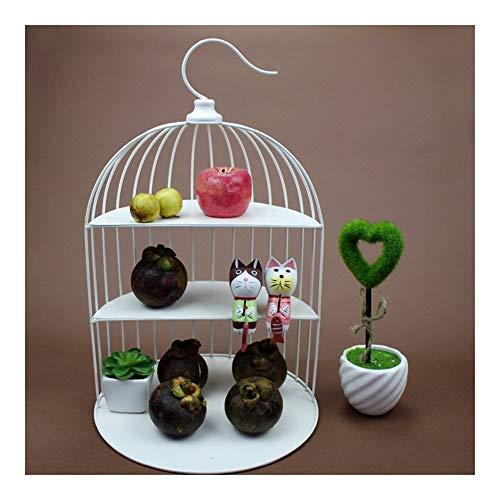 LJJOO 3-capa de soporte del metal Birdcage pastel, creativo té de la tarde pastelería Rack, inoxidable Material de acero adecuado for el matrimonio, cumpleaños, fruta, partido buffet plato de servir B