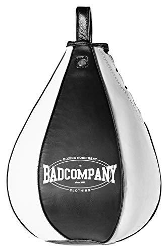 Bad Company Profi PU Boxbirne medium schwarz/weiß - PU Speedball im 6 Elementen Design
