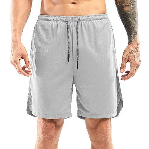 Yidarton Shorts Herren Sport Sommer 2 in 1 Kurze Hosen Schnelltrocknende Laufshorts Fitness Joggen und Training Sporthose mit Taschen (175-Silber-Grau, Large)
