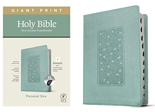NLT Personal Size Giant Print Holy Bible (Red Letter, LeatherLike, Floral Frame Teal, Indexed): Includes Free Access to the Filament Bible App ... Notes, Devotionals, Worship Music, and Video