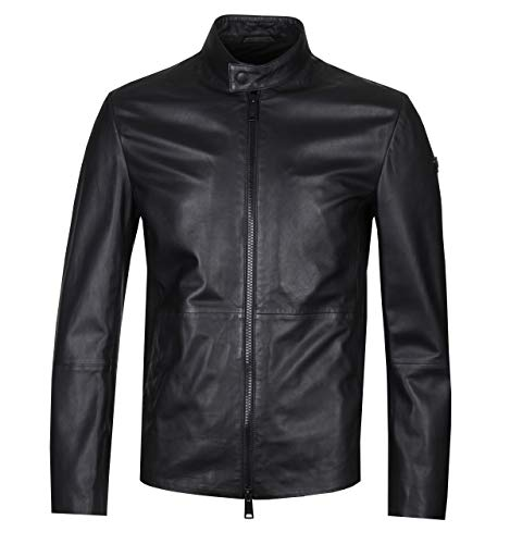 Emporio Armani Men's Full-Zip Leather Caban Jacket, Black, 50