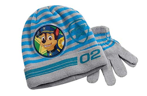 Paw Patrol Knitted Grey Winter Hat & Gloves Set Toddlers Boys One Size