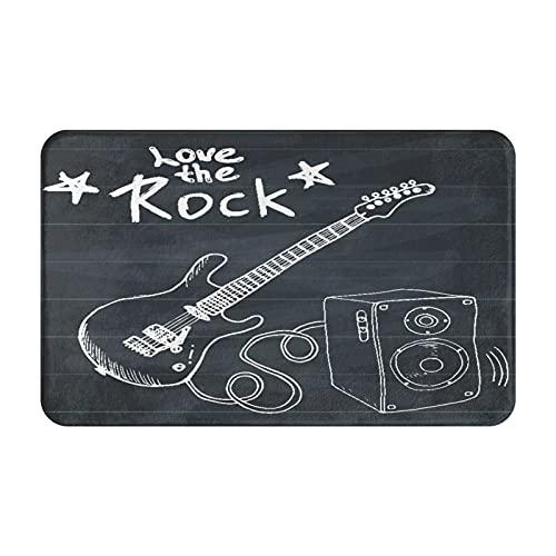 Antideslizante Suave Alfombra de Baño,Rock Music Hand Drawn Sketch Guitarra con caja de sonido y texto Love The Rock Lámina artística,Micro Decoración del Hogar Baño Alfombra de Piso,80 x 49 C