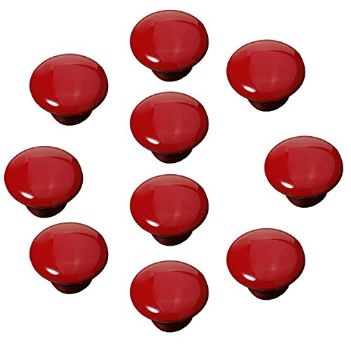 FBSHOP(TM) 10x33mm Rot Porzellan Möbelknöpfe Griffe Knauf MöbelKnopf Tür für Schränke, Schubladen, Truhen, Schlafzimmer, Badezimmer ,Kindermöbel Schubladengriffe Dekorative