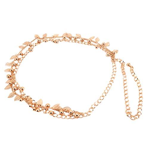 AiSi Damen Fashion Metall Gürtel Kettengürtel Taillengürtel Hüftgurt,Ideal für Kleid, Blätter Design gold