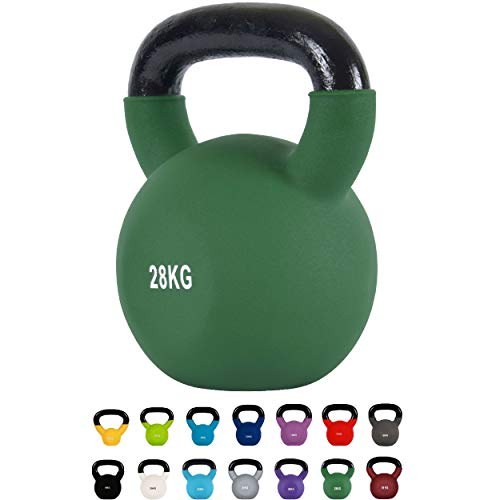 MSPORTS Kettlebell Professionale 28 kg | Ghisa Revestimento in Neoprene | incl. Workout PDF | Verde Olivo
