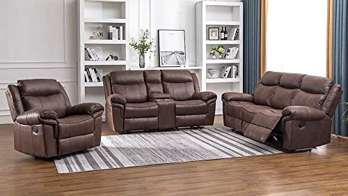 Hollywood Decor Grenoble 3 Piece Reclining Sofa Set in Brown Polished Fabric