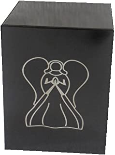 """Liliane Memorials Niche Cube Box Funeral Urn - Full Size but Small Footprint Square Cremation urn fits in Niche or Library - 5.5"""" x 5.5"""" x 7.0"""" Box - Adult 200 lbs Black Angel"""