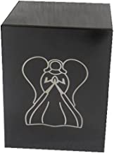 "Liliane Memorials Niche Cube Box Funeral Urn - Full Size but Small Footprint Square Cremation urn fits in Niche or Library - 5.5"" x 5.5"" x 7.0"" Box - Adult 200 lbs Black Angel"