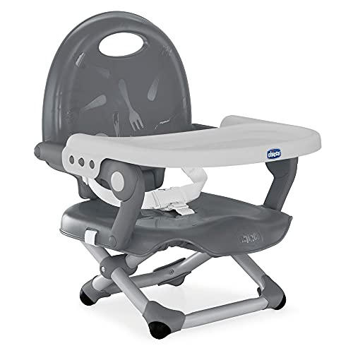Chicco Pocket Snack Toddler Booster Seat Dining Chair for Children 6 Months to 3 Years (15 kg), Portable and Adjustable Baby High Chair with Compact Closure and Removable Tray - Grey