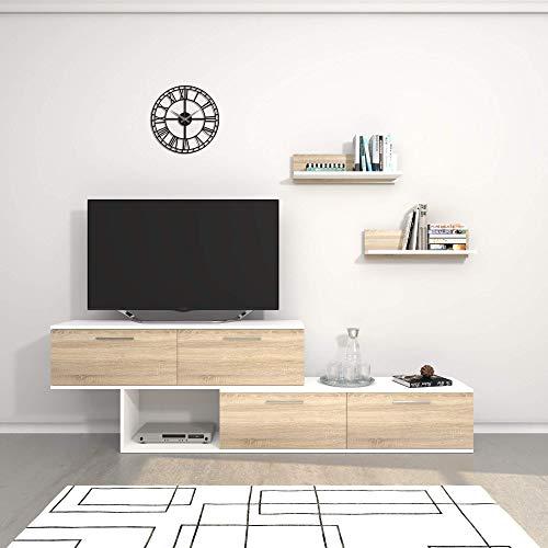 THETA DESIGN by Homemania, Antipodi, Porta Tv, Bianco (Bianco/Beige), 171.5 x 38 x 12.5 cm