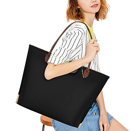 Sunny Snowy Laptop Tote Bag,15 Inch Water Resistant Nylon Laptop Bag for Women Lightweight Tote Bag with Durable Handle,black