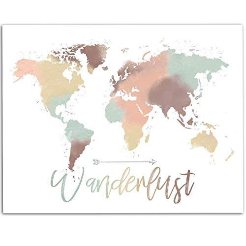Wanderlust - Pastel Watercolor World Map - 11x14 Unframed Art Print - Great Living Room Decor or Gift for People That Love to Travel Under $15