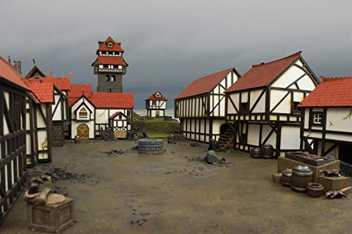 War World Gaming Medieval Town Cottage, Townhouse & Barn Set (Painted / unpainted) & Resin Accessories – 28mm/Heroic Fantasy Wargaming Terrain