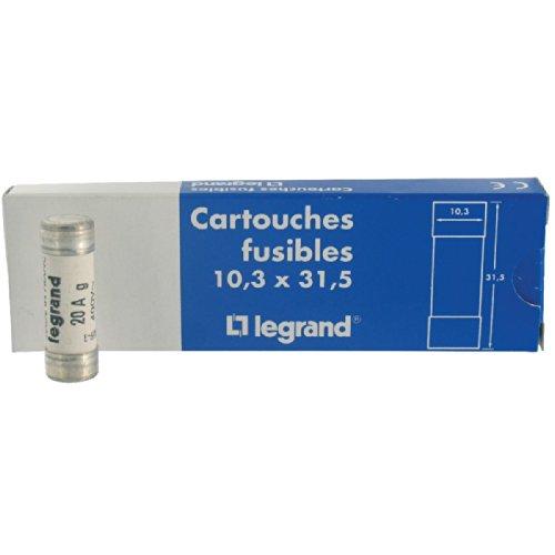 Legrand 012720 Cartouche Cylindrique Domestique avec Voyant, 10.3mmx31.5mm, 20A