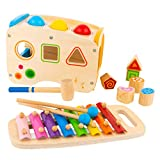 Hammering & Pounding Wooden Toy for Toddlers - Shape Sorter, Xylophone & Montessori Sorting Toys for Children...