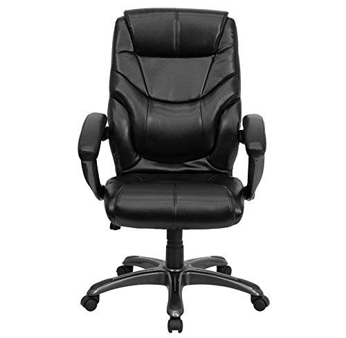 Flash Furniture High Back Black LeatherSoft Overstuffed Executive Swivel Ergonomic Office Chair with Arms, BIFMA Certified