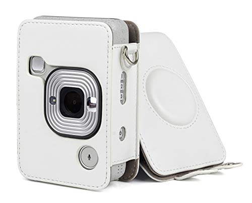 Beschermhoes voor Instax Mini Liplay camera hybride met schouderriem, riem, leer, Beige