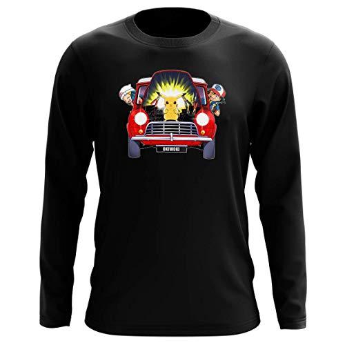 Okiwoki T-Shirt Manches Longues Noir Parodie Pokémon - Pikachu, Sasha et Aurore - Pika dépannage (T-Shirt de qualité Premium de Taille XXL - imprimé en France)