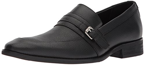 Calvin Klein Men's Reyes Tumbled Leather Loafer, Black, 9.5 Medium US