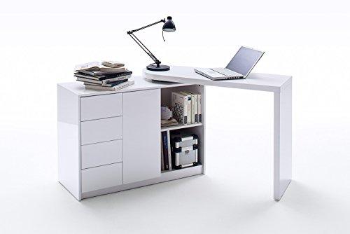 lifestyle4living Büromöbel, Schreibtisch, Bürotisch, Arbeitstisch, Schreibtischkombination, Eckschreibtisch, Computertisch, ausziehbar, Arbeitsplatz, Weiß, Hochglanz
