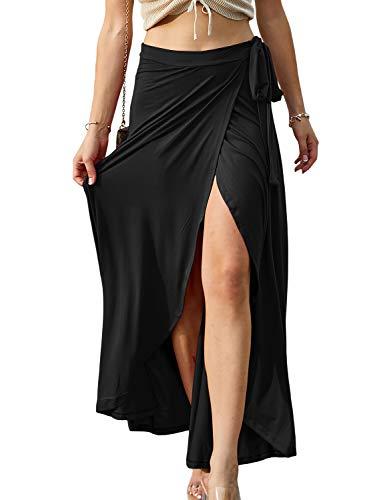 Doublju Womens Waist Strap Tie Up Point Long Skirt Black XXXLarge