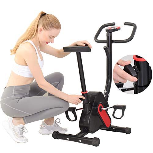 BAIAA Bicicleta de Ejercicio de Resistencia Bicicleta de Entrenamiento Vertical Fija de Ajuste con Monitor LCD y Asiento Ajustable para Entrenamiento Casa y Entrenamiento Cardiovascular
