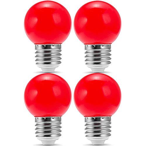 4 Pack G14 LED Red Light Bulb 1W 120V E26 Base Small Night Light Red Bulbs for Bedroom, String Lights, Window Candle, Table Lamp, Kitchen, Pendant Fixtures, Dinning Room, G14 LED Light Bulb Globe