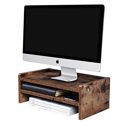 """OROPY 2 Tiers Vintage Monitor Stand, Multifunctional Monitor Riser Stand Desk Organizer for Computer, iMac, Laptop, 16.3""""L x 9.4""""W x 5.5""""H, Dark Brown"""