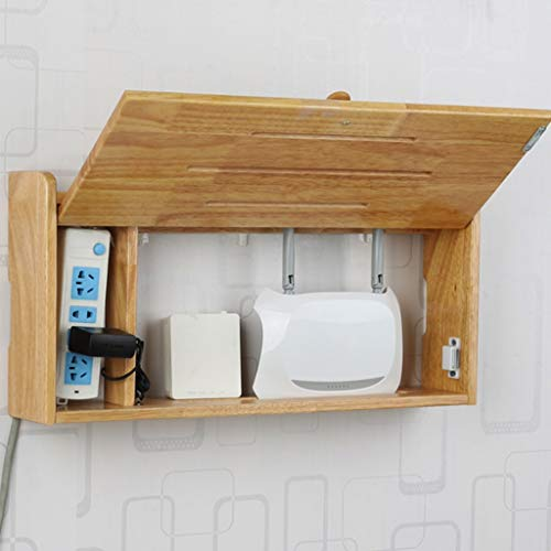 Houten Hangstelling Muur Floating Shelf Wireless Router Storage Box Wall Mount Wifi Vermogen Wire Storage Shelf Muur occlusie Box Set Top Storage Box (Color : Rubber wood, Size : 52.3 * 11.5 * 29cm)