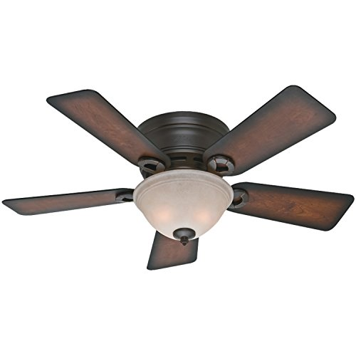 """Hunter Conroy Indoor Low Profile Ceiling Fan with LED Light and Pull Chain Control, 42"""", Onyx Bengal"""